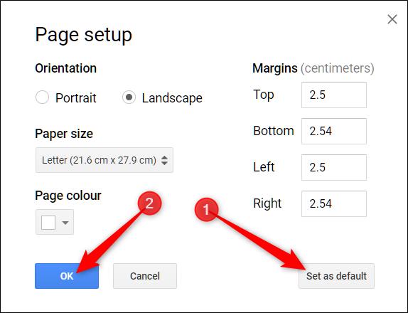 opcionalmente, haga clic en el botón establecer como predeterminado antes de hacer clic en Aceptar