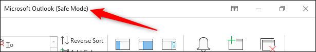 Barra de encabezado de Outlook que muestra texto en modo seguro