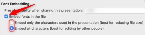 Opciones de incrustación de fuentes para Mac