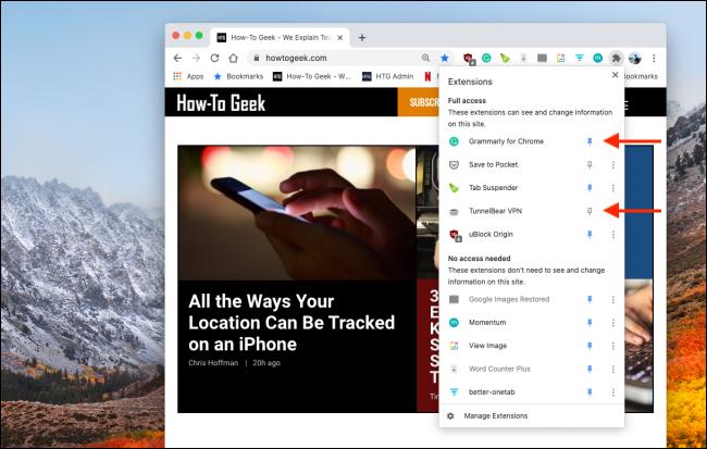 Anclar o desanclar extensiones de Chrome