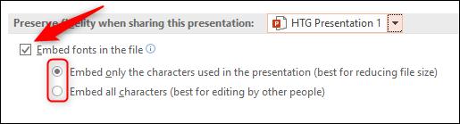 Seleccione incrustar fuentes en la opción de archivo PowerPoint Windows