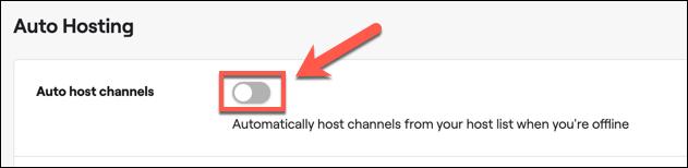 """Toque el control deslizante junto a la opción """"Canales de alojamiento automático"""" para habilitar el alojamiento automático en su cuenta de Twitch."""