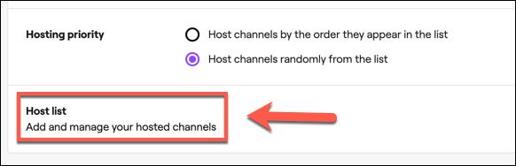 """Haga clic en """"Lista de anfitriones"""" para acceder a su lista de canales de alojamiento automático de Twitch."""