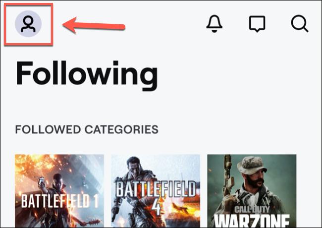 En la aplicación móvil de Twitch, toque el icono del canal en la parte superior izquierda.