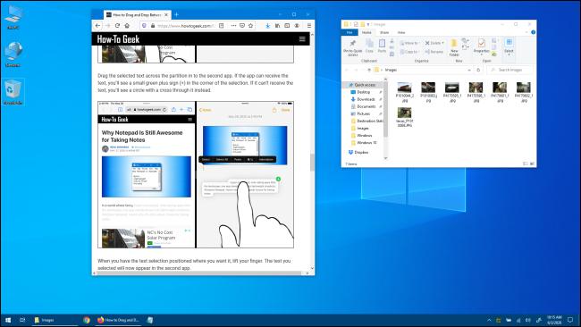 Escritorio de Windows 10 con Windows de aplicación