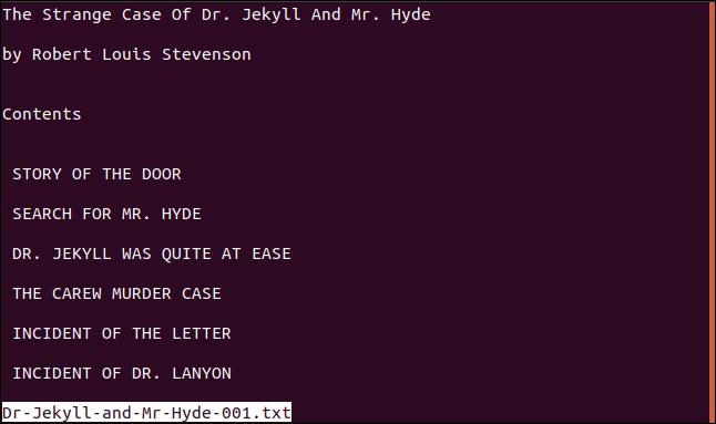 menos mostrar un archivo de texto en una ventana de terminal