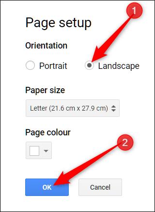 elija una opción de orientación y haga clic en Aceptar