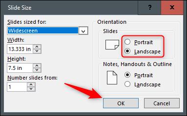 """Seleccione el botón de opción junto a Vertical u Horizontal y luego haga clic en """"Aceptar""""."""