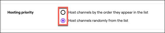 """Seleccione la configuración de prioridad de host automático de Twitch en la sección """"Prioridad de hospedaje""""."""