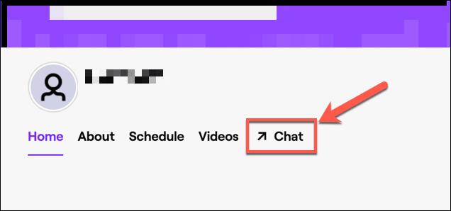 "Haz clic en ""Chat"" para acceder al chat de Twitch de tu canal."