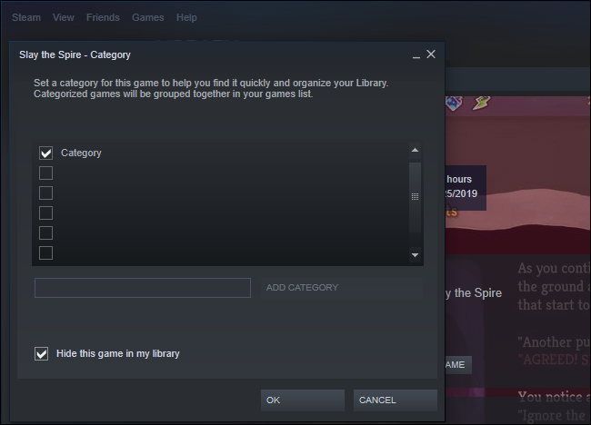 Opción para ocultar un juego en Steam
