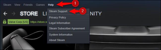 Opción Steam Support en el menú Ayuda
