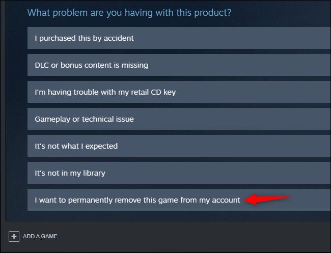 Opción para eliminar permanentemente un juego de una cuenta de Steam