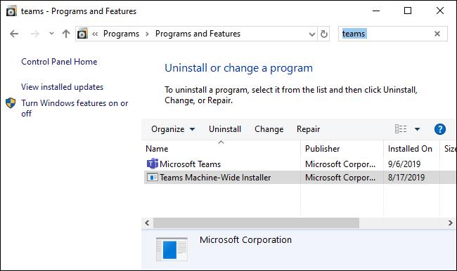 Eliminar Microsoft Teams a través del Panel de control.
