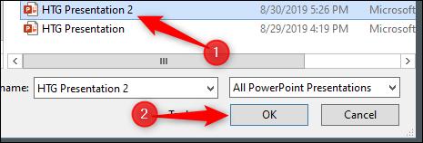 """Seleccione la presentación a la que desea vincular y luego haga clic en """"Aceptar""""."""