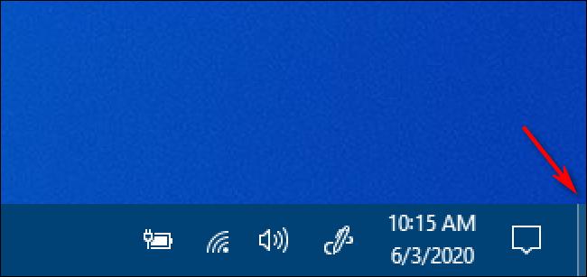 El botón Mostrar escritorio de Windows 10
