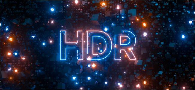 Un logotipo de HDR con luces de neón.