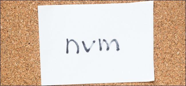 """""""nvm"""" escrito a mano en una hoja de papel."""