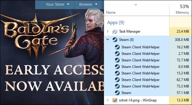 El Administrador de tareas que muestra el uso de RAM del proceso de Steam Client WebHelper