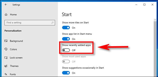 """En la configuración de Windows 10, haga clic en el interruptor """"Mostrar aplicaciones agregadas recientemente"""" para apagarlo."""