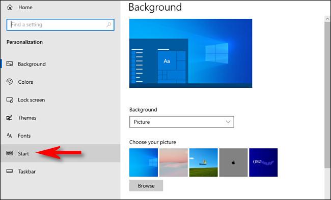 """En la configuración de Windows 10, haga clic en """"Inicio"""" en la barra lateral."""