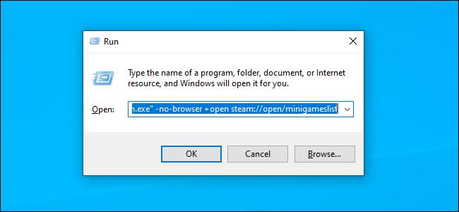 Iniciar Steam con el comando sin navegador usando el cuadro de diálogo Ejecutar