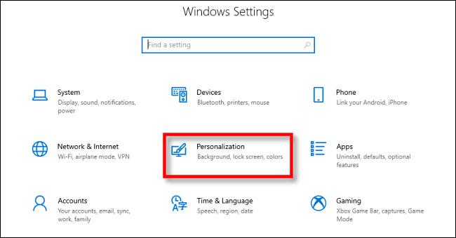 """En la configuración de Windows 10, haga clic en """"Personalización""""."""