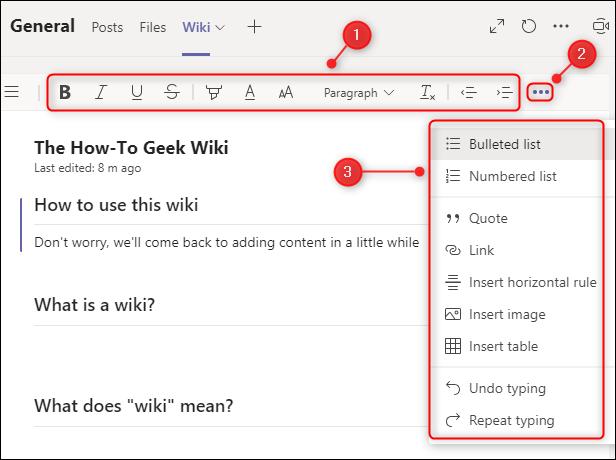 La barra de herramientas de edición de texto.