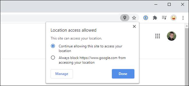 Ventana emergente de Google Chrome que muestra el acceso a la ubicación permitido en un sitio web.