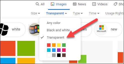 seleccionar transparente