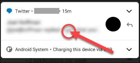 mantenga presionada la notificación