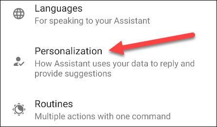 toque la personalización