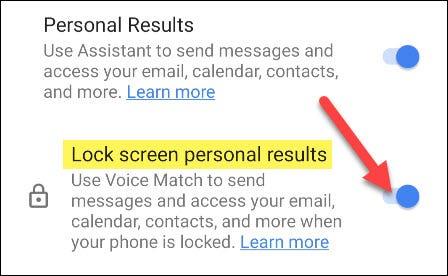 activar resultados personales para la pantalla de bloqueo
