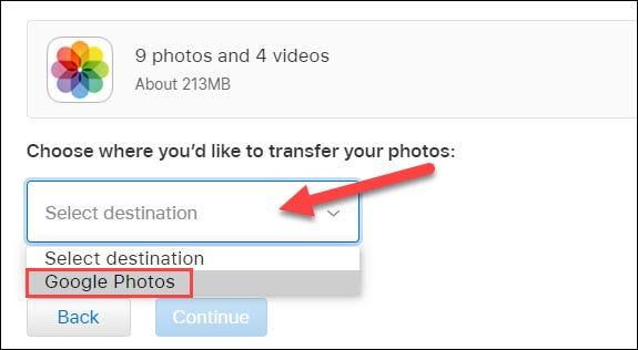 seleccione Google Photos en el menú desplegable