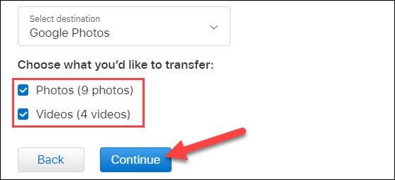 seleccione el contenido para copiar y haga clic en continuar