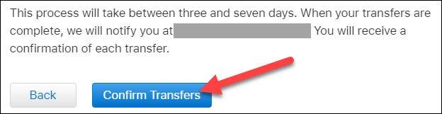 haga clic en confirmar transferencias para finalizar