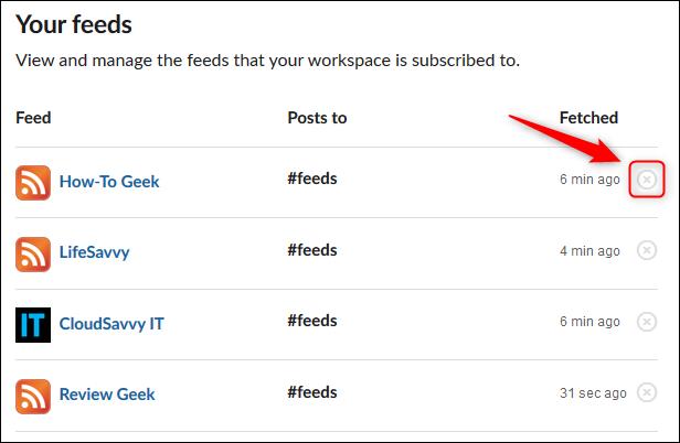 """La sección """"Tus feeds"""" de la página de la aplicación RSS."""