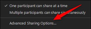 Botón de opciones avanzadas para compartir