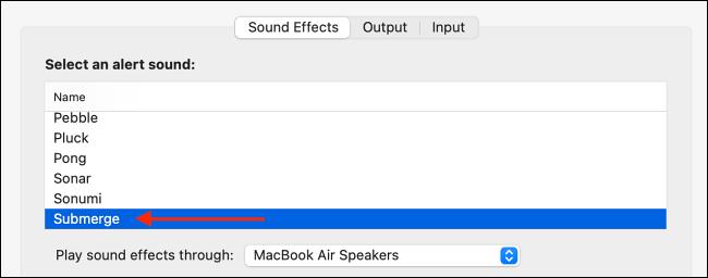 Elija Submerge Sound Effect para Alert Sound en Mac