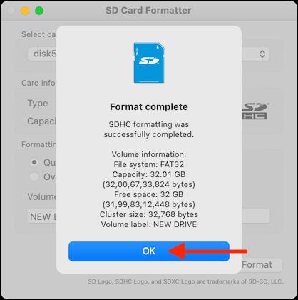 Haga clic en Aceptar en la ventana emergente de formato terminado