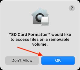 Haga clic en Aceptar para otorgar acceso a la aplicación a la tarjeta SD