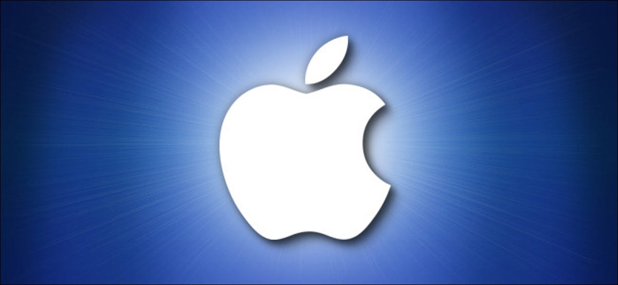 Logotipo de Apple sobre fondo azul
