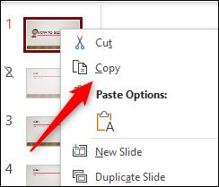 Opción de copiar en el menú contextual