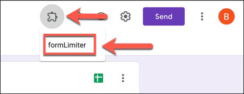 Para iniciar formLimiter en su formulario de Formularios de Google, presione Complementos> formLimiter.