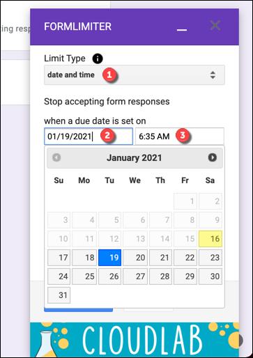 Establezca una fecha y hora de cierre adecuadas para su formulario