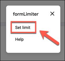 """Haga clic en """"Establecer límite"""" en el menú """"formLimiter""""."""