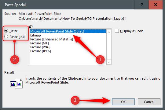 Opciones para vincular o incrustar en una diapositiva de PowerPoint