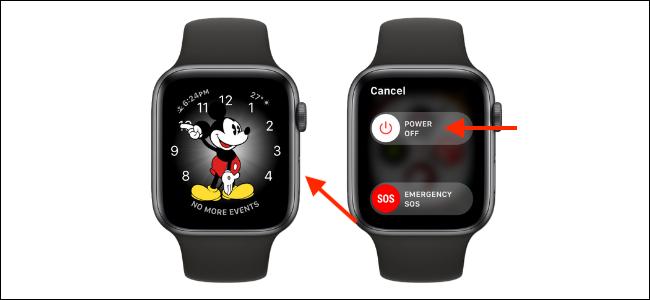 Apague el Apple Watch desde el botón lateral