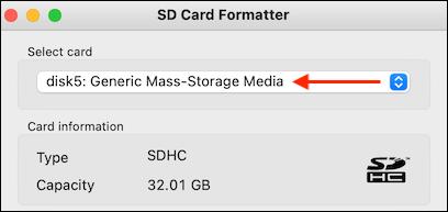 Seleccione la tarjeta SD en la aplicación SD Card Formatter