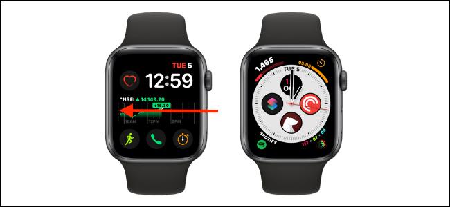 Desliza el dedo desde el borde izquierdo o derecho para cambiar la esfera del reloj en el Apple Watch
